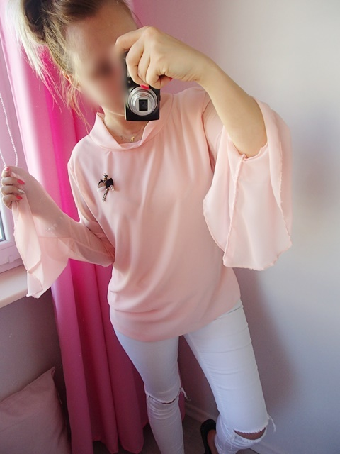 Koszula szerokie rękawy broszka pudrowy róż