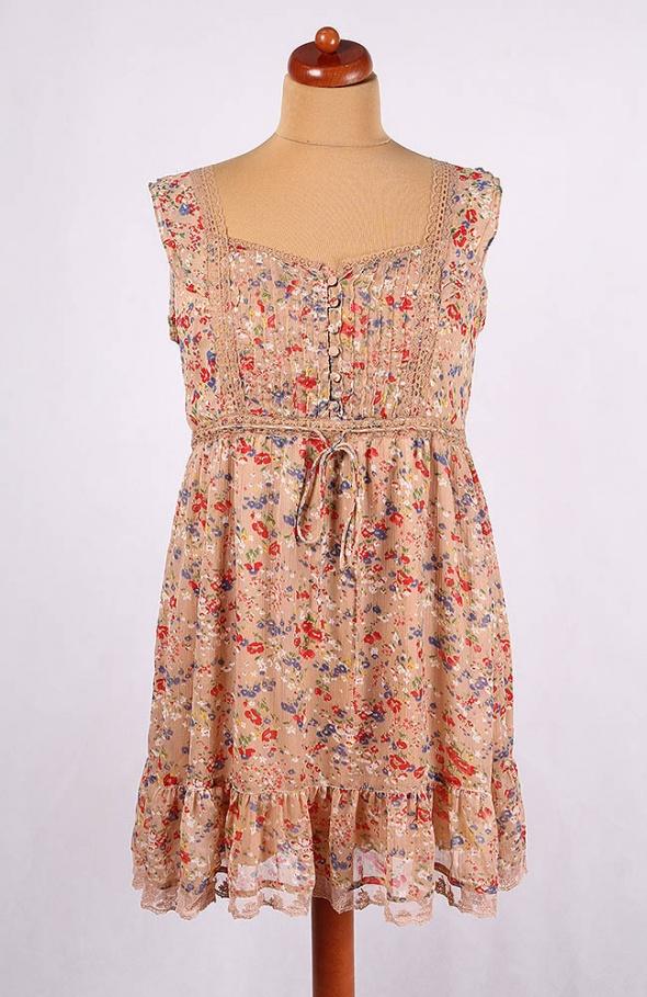 39c2da2b1c Suknie i sukienki BEŻOWA MIDI SUKIENKA W KWIATY VINTAGE SZYFONOWA 44 46