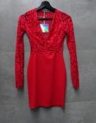 Sukienka koronkowa koronka czerwona sexy red bodycon dopasowana Missguided XS