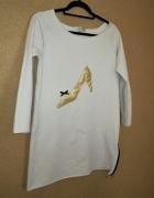 LOLALI biała dresowa sukienka tunika print oversize 38...