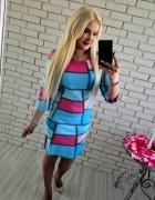 Niebieska zamszowa piankowa sukienka L