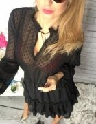 Sukienka czarna falbanki mgiełka WIOSNA