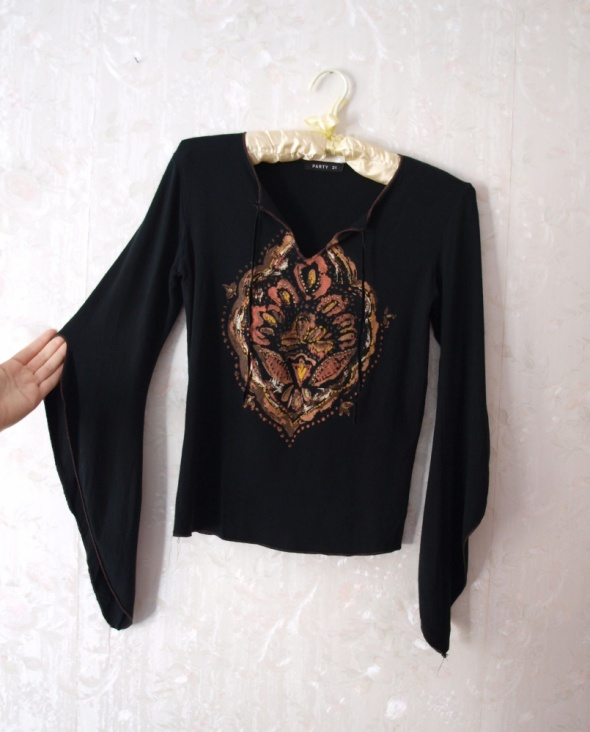 Bluzka boho rękawy wiszące wzór etno
