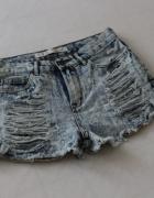 jeansowe marmurki spodenki z przetarciami m...
