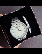 Zestaw zegarek bransoletka obręcz srebrny