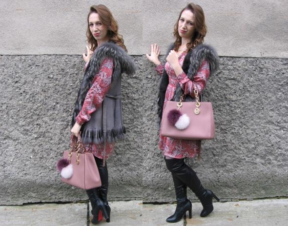 Sukienka boho floral jesienna z długim rękawem romantyczna orsay 38 M