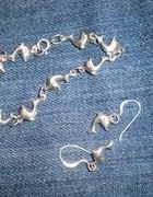 srebrna bransoletka i kolczyki delfinki srebro 925