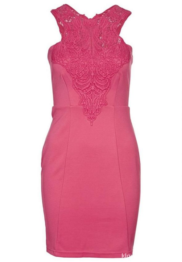 sukienka koktajlowa róż haft koronka Lipsy Asos