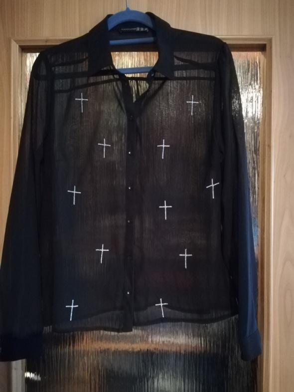 Czarna przejrzysta koszula z krzyżami...