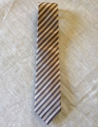 Baumler krawat jedwabny brąz wzór ukośne pasy...