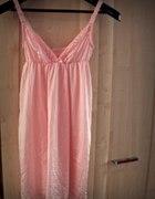 różowa jedwabna halka do spania piżamka delikatna