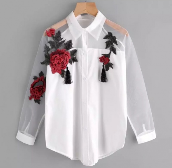 Koszula biala mgielka kwiaty roze must have blogger w