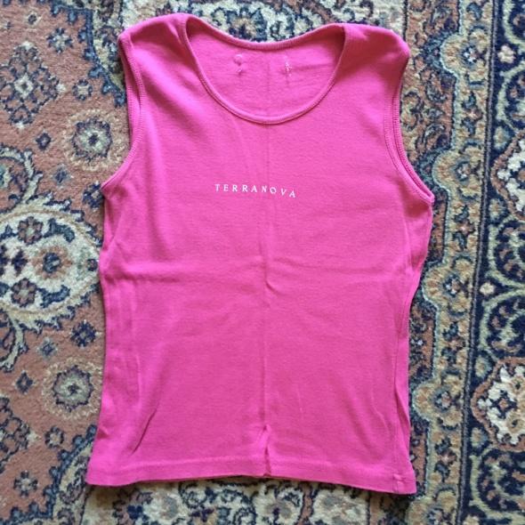 bawelniana rozowa bluzka Terranowa z nadrukiem...