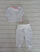 Komplet biały kropeczki kaftanik bluzeczka spodnie śpiochy półśpiochy legginsy Cool Club Smyk 62