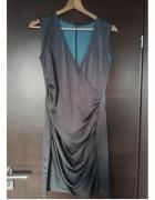 koktajlowa stalowa drapowana sukienka wesele asymetryczna