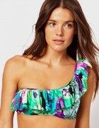 Bikini ASOS XS S kwiaty falbanka...