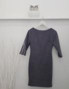 nowa sukienka szara zamsz