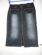 Spódnica jeansowa przecierana granatowa 38 M...