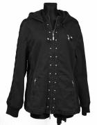 Ocieplana jesienno zimowa czarna kurtka z kapturem