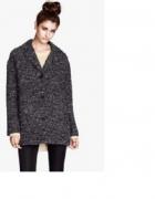 Siwy czarny melanżowy płaszcz H&M oversize S
