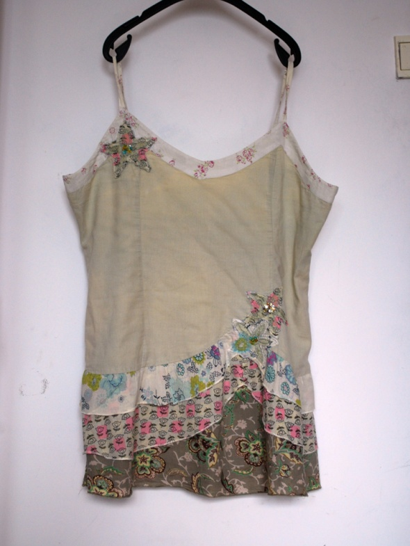 Luźna bluzka zwiewna lekka kwiaty patchwork XL XXL