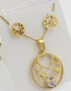 Komplet TOUS z cyrkonią kolczyki naszyjnik złote