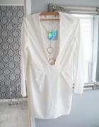 Missguided Bandażowa sukienka 38 M Bodycon asos Biała herve