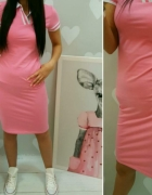 Wyprzedaż dresowa różowa sportowa sukienka bawełna s m l