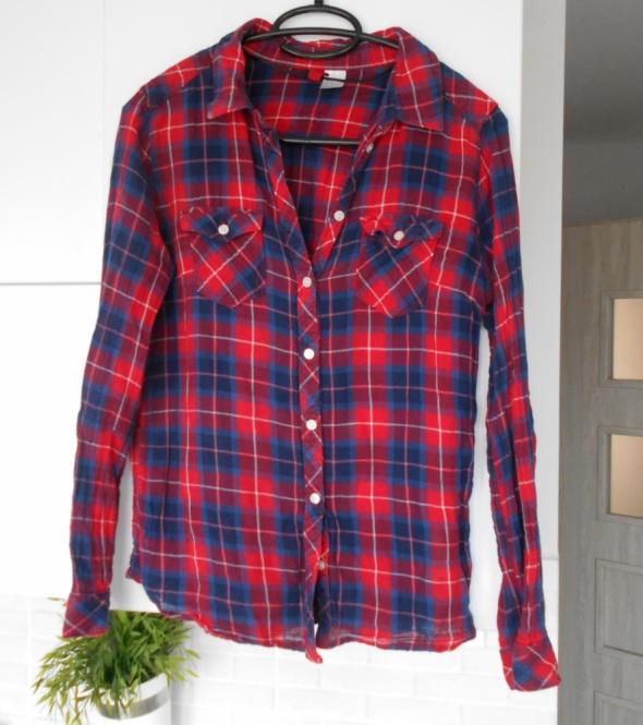 Koszule HM czerwona koszula krata w kratkę bawełna