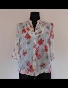 New Look bluzka ecru kwiaty mgiełka 36