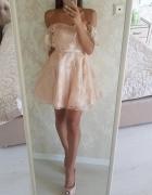 Sukienka rozkloszowana hiszpanka nude