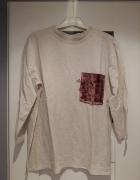 RESERVED beżowa bluzka golf z welurową kieszonką zara