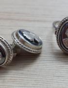 srebrny Warmet komlet z kameami