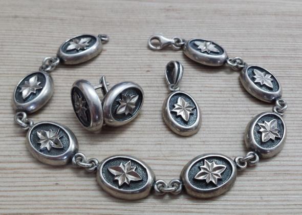 srebrny komplet z gwiazdami