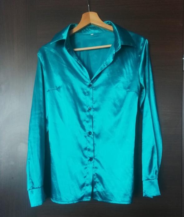 koszula satynowa miętowa elegancka bluzka kołnierzyk