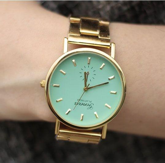 zegarek damski geneva złota bransoleta kolorowy