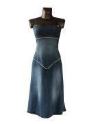 Niebieska Sukienka Dżinsowa L...