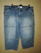 Jeansowe spodnie rybaczki z wysokim stanem 50 52...