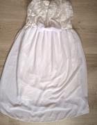 Halka sukienka biała koronka 34 XS 36 S kokarda