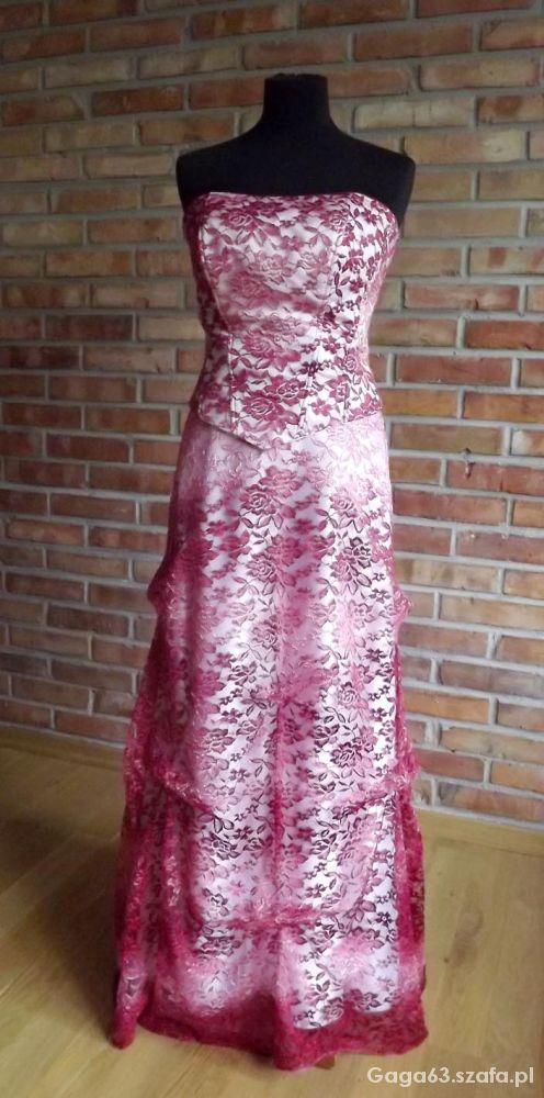 suknia slubna z bordowej koronki