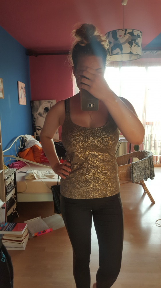 Bluzki Top złoty wzór