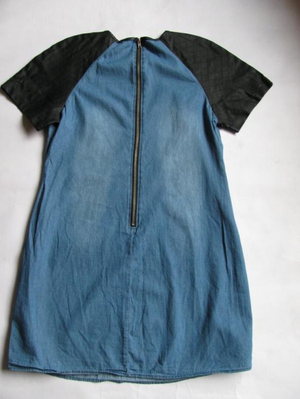 Suknie i sukienki ATMOSPHERE DŻINSOWA SUKIENKA E SKÓRA 44 46 J NOWA