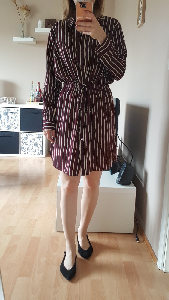 Suknie i sukienki koszulowa sukienka w paski z wiązaniem w pasie