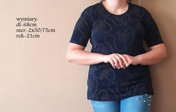 Bluzki Granatowa bluzka z błyszczącym printem cena 15zł