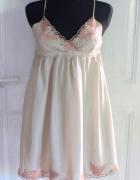 Jedwabnaletnia krótka sukienka koronki r XL