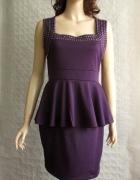 Miss Blushhh fiolet sukienka baskinka dżety 38 40