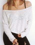 3 rzecz gratis biały cienki sweterek z odkrytymi ramionami Tops...