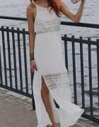 H M super maxi letnia sukienka z koronką...