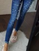 Spodnie rurki jeansy perełki tregginsy ozdoby elastyczne xs s...