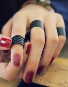 Zestaw 3 szt czarnych pierścionków